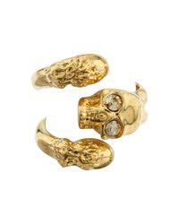 Alexander McQueen - Metallic Horseshoe Skull Ring Ottone - Lyst