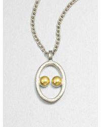 Gurhan | Metallic Sterling Silver 24k Gold Domino Pendant Necklace | Lyst