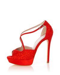 Karen Millen - Red Lace Sandal - Lyst