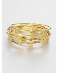 Tory Burch | Metallic Logo T Bangle Bracelet Set | Lyst