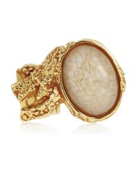 Saint Laurent - Pink Arty Gold-Plated Glass Ring - Lyst