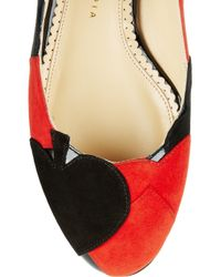 Charlotte Olympia | Red Suits You Appliqued Suede Ballet Flats | Lyst