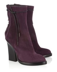 Haider Ackermann | Purple Laceup Suede Ankle Boots | Lyst
