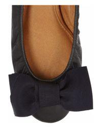 Lanvin - Black Bowembellished Leather Ballet Flats - Lyst