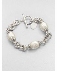 Majorica | Metallic Baroque Pearl Station Bracelet | Lyst