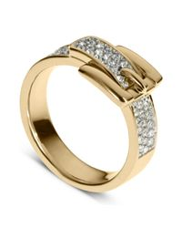 Michael Kors - Metallic Gold Tone Pave Crystal Buckle Ring - Lyst