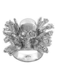 Alexander McQueen - Metallic Silver Atom Flower Skull Cocktail Ring - Lyst