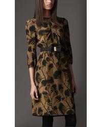 Burberry | Green Printed Silk Dress | Lyst