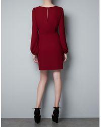 Zara   Red Puff Sleeve Dress   Lyst