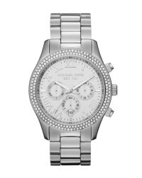 Michael Kors | Midsize Silver Color Stainless Steel Layton Chronograph Glitz Watch | Lyst
