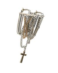 TOPSHOP | Metallic Multi Chain Cross Bracelet | Lyst