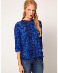 Whistles - Blue Celia Cheetah Print Tee - Lyst