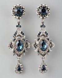 Jose & Maria Barrera | Blue Crystal Clip Earrings | Lyst