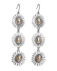 Lucky Brand - Metallic Two Tone Floral Triple Drop Earrings - Lyst