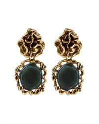 Oscar de la Renta - Green Geode Drop Earrings - Lyst