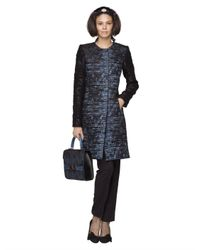 Oscar de la Renta   Blue Textured Boucle Jacquard Coat   Lyst