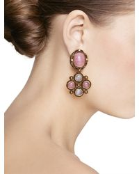 Oscar de la Renta - Pink Medieval Drop Earrings - Lyst
