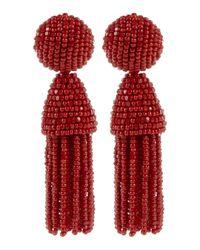 Oscar de la Renta - Red Ombre Long Beaded Tassel Clip On Earrings - Lyst