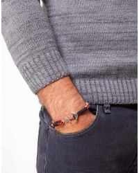 ASOS - White Asos Woven Bracelet with Silver Anchor for Men - Lyst
