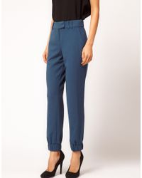 ASOS Collection | Blue Trouser with Elastic Cuff | Lyst