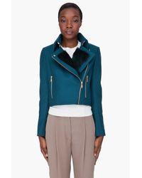 KENZO | Blue Teal Rabbit Fur Trim Jacket | Lyst