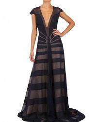 Maiyet Blue Silk Chiffon Appliqué Long Dress