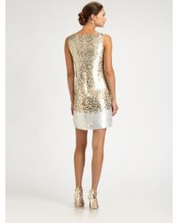 Oscar de la Renta   Gold Sequined Silk Dress   Lyst