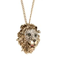 River Island - Yellow Diam Lions Head Pendant - Lyst