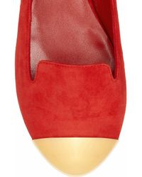 Saint Laurent | Red Evalyn Suede and Metal Loafers | Lyst