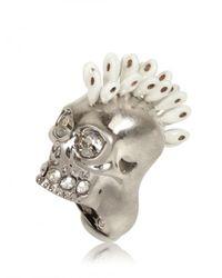 Alexander McQueen - Metallic Swarovski Punk Skull Ring - Lyst