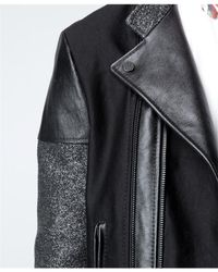 Balenciaga | Black Leather and Flecked Tweed Motorcycle Jacket for Men | Lyst