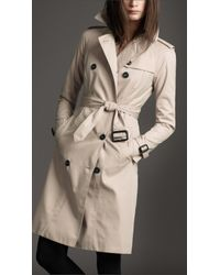 Burberry | Natural Hooded Cotton Trench Coat | Lyst