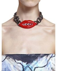 Lanvin - Red Resin Lips Swarovski Brass Necklace - Lyst