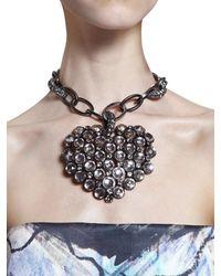 Lanvin | Gray Swarovski Heart On Brass Necklace | Lyst