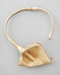 Saint Laurent - Metallic Calla Lily Flower Choker Necklace - Lyst