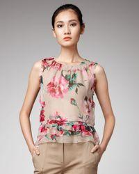 Dolce & Gabbana | Natural Peony-print Chiffon Top | Lyst