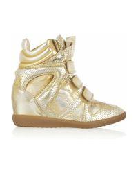 Isabel Marant | Gold Bird Metallic Leather Sneakers | Lyst