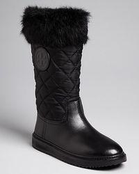 Tory Burch | Black 'curran' Crystal Bead Trim Rabbit Fur Suede Boots | Lyst