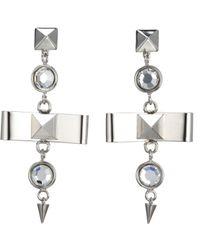 Fallon - Metallic Bow Drop Earrings - Lyst
