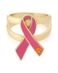 Betsey Johnson | Pink 'Im A Survivor' Breat Cancer Ring | Lyst