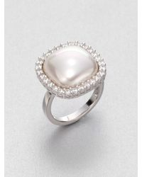Majorica | 15Mm White Square Mabe Pearl & Sterling Silver Halo Ring | Lyst
