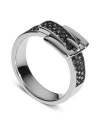Michael Kors | Metallic Silver Tone Pave Crystal Buckle Ring | Lyst