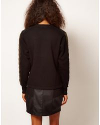 ASOS Collection | Black Sweatshirt with Padded Sleeve | Lyst