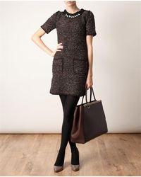 Fendi | Brown Contrasting Leather Shopper Bag | Lyst