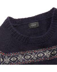 J.Crew - Blue Striped Fair Isle Wool Sweater for Men - Lyst