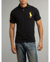 b2bca046 ... spain lyst polo ralph lauren custom fitted gold big pony polo shirt in  38f24 2dd30