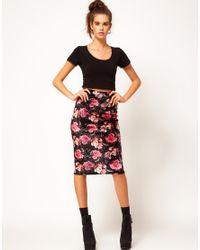 River Island - Multicolor Rose Print Velvet Pencil Skirt - Lyst