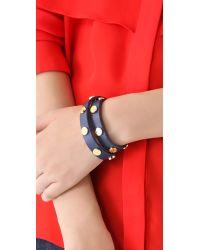 Tory Burch - Blue Logo Studded Wrap Bracelet - Lyst