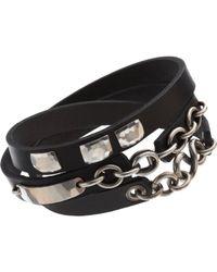 Werkstatt:münchen   Black Silver Leather Bracelet Wound Wild for Men   Lyst