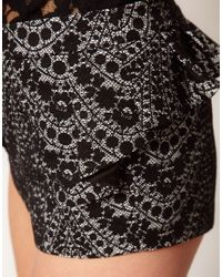 ASOS Collection - Black Lace Shorts with Peplum - Lyst